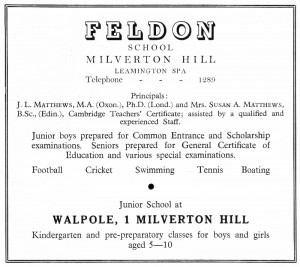 Feldon School advertisement, © Leamington Spa Town Guide 1952