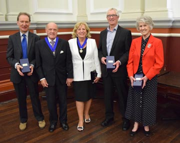 Left to right, Dr Stanislaw Librowski, John Evetts, Mayor Caroline Evetts, Michael Pearson and Margaret Rushton. Photo Barry Franklin