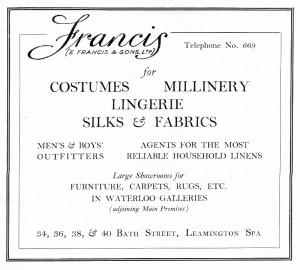 E Francis & Sons Advertisement, 1951